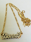 14K SOLID YELLOW GOLD DIAMOND DONNA NAME PLATE 7.5 GRAMS NECKLACE FIGARO