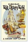 DISNEY WORLD DELTA AIRLINES - COLLECTOR'S POSTER 4 SIZES TO CHOOSE FROM