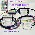 LED Diode RGB Chip+Driver+Remote Flood Light DIY 24 Key COB 10W~50W Dimmer 1 Set