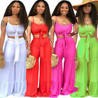 Women Spaghetti Strap Solid Color Casual Summer Wide Legs Jumpsuit Pants Set 2pc
