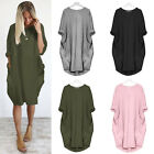 Women's Long Sleeve T-Shirt Midi Dress Pockets Loose Baggy Long Tops Plus Size