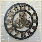 LARGE OUTDOOR GARDEN WALL CLOCK BIG ROMAN NUMERALS GIANT OPEN FACE METAL W7Y9D