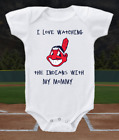 Cleveland Indians Onesie Bodysuit Shirt Love Watching Indians WIth Mommy on Ebay