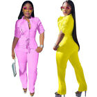 Women casual zipper pockets solid color club party cool long jumpsuit rompers