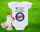 Minnesota Twins Outfit Onesie And Ruffle Leggings Set Watching WIth Grandpa on Ebay