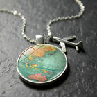 Alloy glass earth plane necklace world map pendant necklace jewelry