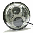 """7"""" LED Chrome Projector Round Headlight Hi/Lo For Harley Davdison Touring H4"""