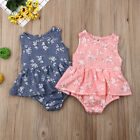 Cute Newbron Baby Girls Ruffle Floral Romper Bodysuit Outfits Sunsuit Clothes
