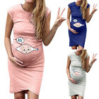 Women Cute Baby Printed Pregnant Summer Sleeveless Party Maternity Comfy Dress
