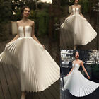 Womens Backless Maxi Pleated Dress Deep-V Off Shoulder Prom Gown Weeding Dresses