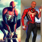 US! Adult/Kid PS4 Spider-Man Cosplay Costume Halloween Suit with Movable Mask