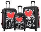 Tough Hard Shell Suitcase Big Heart 4 Wheel Luggage TSA Lock Zip Around Bags NEW