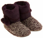 Ladies Coolers Plum Warm Fur Lined Knitted Slipper Boots Sz Size UK 3-4, 5-6
