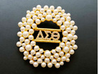 Delta Sigma Theta (DST) Pearl and Crystal Pin Brooch