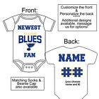PERSONALIZED ST. LOUIS BLUES FAN BABY GERBER ONESIE SOCKS HAT CUSTOM MADE GIFT $23.99 USD on eBay