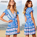 Women Summer Boho Floral Short Mini Dress Evening Cocktail Party Beach Sundress