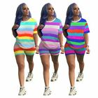 Women Short Sleeves Colorful Stripes Casual Summer Short Jumpsuit Outfits 2pc
