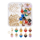 1 Box DIY Jewelry Finding Glass Cube Charms Brass Lobster Claw Clasps Jump Rings