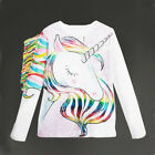 US Casual Toddler Kids Girls Cartoon Unicorn Long Sleeve Tops T shirt Clothes