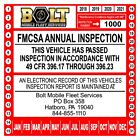 US DOT Annual Inspection Decal for FMCSA 49 CFR Part 396.17 through 396.23