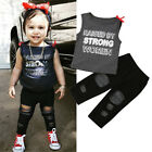 US Toddler Kids Baby Girl Clothes Sleeveless Top Denim Pants Leggings Outfit