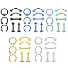 8pcs Nose Ring Eyebrow Lip Studs Earrings Surgical Steel Body Piercing Set 16g
