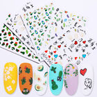 3D Nail Stickers Flower Cactus Heart Image Transfer Decals Cute Nail Art Tips