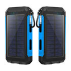 2USB Power Bank 500000mAh Solar Fast Charger Hook External Battery Pack