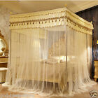 Luxury canopy for bed drapes mosquito net with 4 corner frames queen king size image