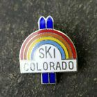 SKI COLORADO Rainbow Set of Snow Skiis Travel Resorts Skier Lapel Hat Pin