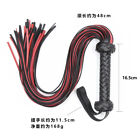Black & Red faux Leather Flogger Whip Spanker Role Play Feather Tickler paddle