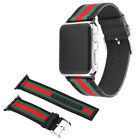 Replacement Gucci Pattern Sport Nylon Leather Band Strap for Apple Watch 38 42 image