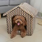 Warm Grid/Leopard Pet Dog Cat House Bed Kennel Tent Folded House Mat XS,S,M