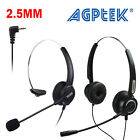 AGPtek 2.5mm Hands-Free Headset with Boom Mic for Office Cell Phones Telephone