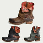 Womens Lady Belt Buckle Side Zip Retro Martin Boots Ankle Leather Casual Shoes