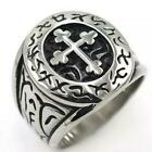 Men Knights Templar Cross Ring Fashion Stainless Steel Punk Jewelry Biker Gift