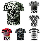Mens Womens Casual T-Shirt 3D Hypnosis Swirl Print Short Sleeve Graphic Tee Tops image