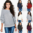Womens Knit Off Shoulder Batwing Long Sleeve Sweater Boat Neck Loose Casual Tops