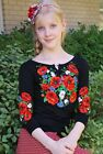 "Ukrainian Women's 3/4 sleeve shirt with real embroidery ""Blossomy"". Black"