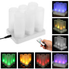 Set of 12/6/4 Rechargeable LED lickering Flameless Tealight Candles Lights Q5P0