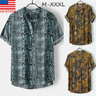 Mens Summer Short Sleeve Button Down T-shirt Tops Slim Fit Casual Stylish Shirts image