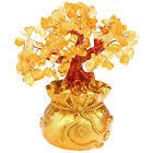 Feng Shui Citrine Yellow Crytal Money Tree With Money Bag Pot For Lucky Wealth