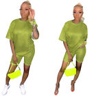 Women Fashion Short Sleeves Gold Stamping Casual Club Party Cropped Jumpsuit 2pc