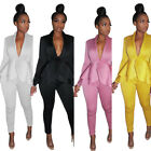Women long sleeves V neck ruffled tops  bodycon pants small suit outfits 2pc