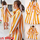 Mother Daughter Casual Stripe Boho Shirt Dress Family Matching Dresses Outfits
