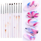UV Gel Liner Drawing Brush Painting Nail Art Acrylic Pens Marble Handle Salon