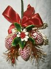 Vintage Christmas corsage gold leaf red pine cones & ribbon