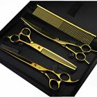 """8.0"""" Pet Dog Grooming Scissors Set Hair Cutting Curved Thinning Shears"""