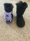 UGG Australia Girl's Black and Purple Bow Boots 8- NEW