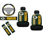 7pc NFL Green Bay Packers Car Seat Covers Steering Wheel Cover Seat Belt Pads